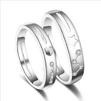 Free shipping! wholesale vintage letter ancient 925 silver crystal star personality wedding bands ring for lovers jewlery