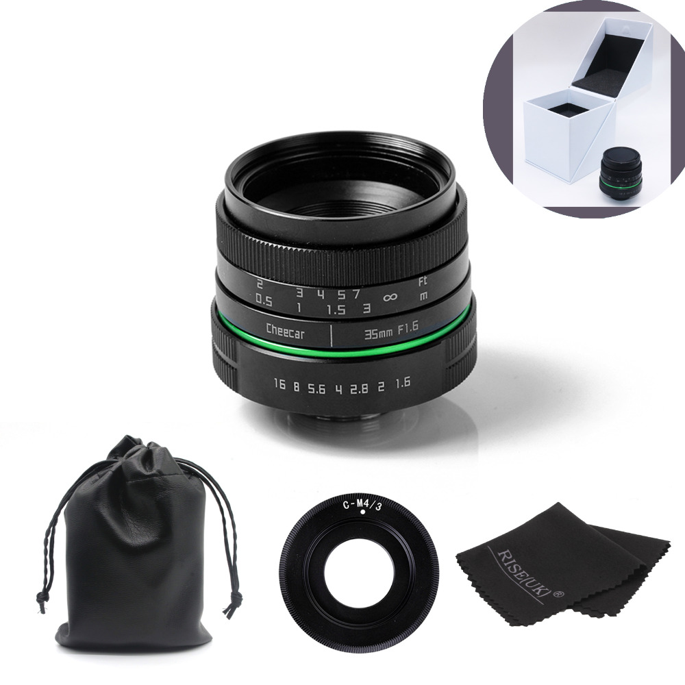 New green circle 35mm APS-C CCTV camera lens for For Olympus&Panasonic M4/3 Camera with c-m4/3 adapter ring +case+gift +big box 25mm f1 4 cctv lens macro rings c m4 3 adapter ring set for olympus panasonic camera silver