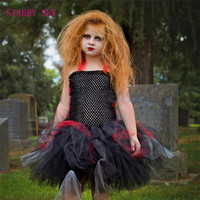 2017 European Style Children Halloween Dress Girl Princess Vampire Costumes Kids Holiday Carnival Party Performance Tutu
