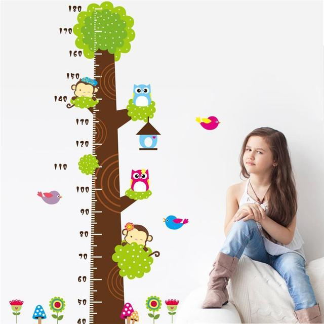 Owls Monkey Birds Flower Tree Growth Chart Wall Decals For Kids Room