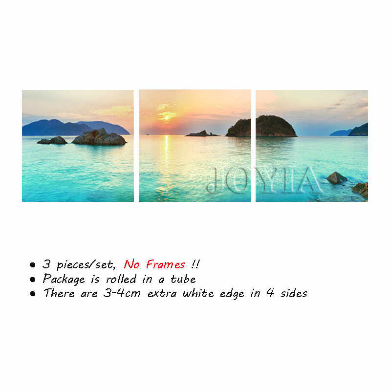 Seascape Island Wall Pictures, Morning Sunset View Paintings Sea Skyline Canvas Prints Home Living Room Decor, 3 Piece No Frame