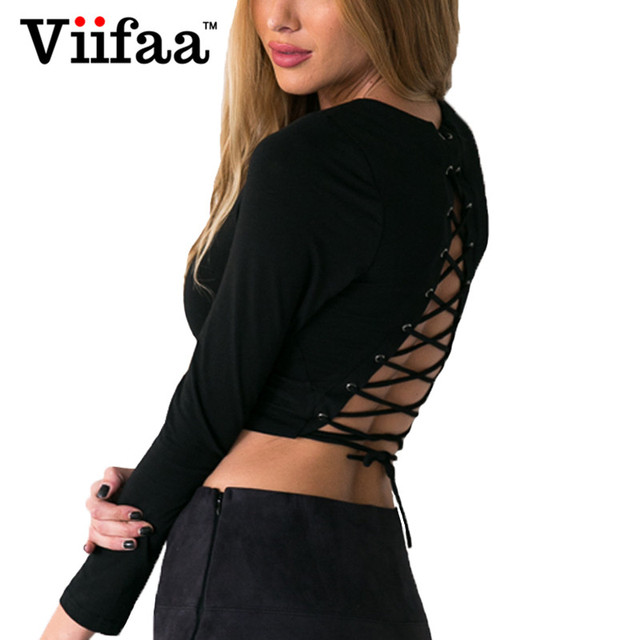 Viifaa Sexy Lace Up Backless Halter Crop Top Mujeres 2017 de Manga Larga de Verano Corta Camiseta de Tiras Bustier Recortada Tops
