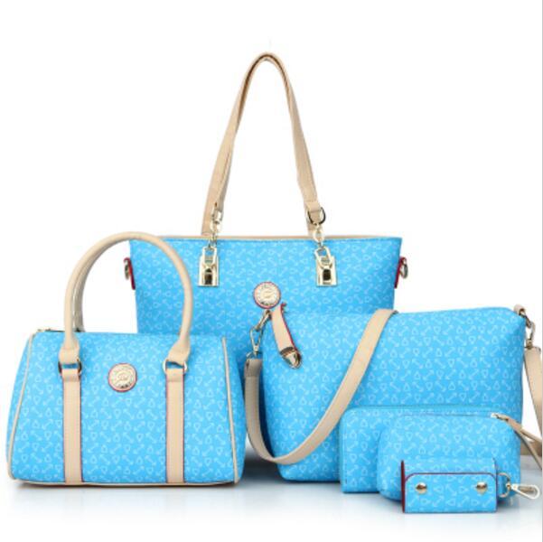 Hot Women Handbags Set 6-in-1 Girls PU Leather Designer Large Tote +  Top-handle Bag + Shoulder Bag + Key Holder + Wallet + Purse 6be99de67f559