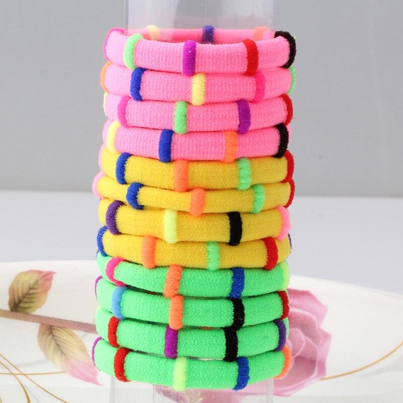 1 Pack = 12 Stuks Snoep Kleur Elastische Hoofdband Haar Touw Elastiekjes Drie Kleuren Scrunchy Haar Accessoires Gom Voor Meisje Kid Paardenstaart Mooi En Kleurrijk