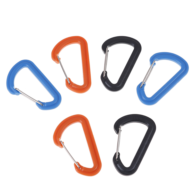 3 Colors Plastics + Iron Carabiner Keychain Outdoor Camping Climbing Snap Clip Lock Buckle Hook Fishing Tool