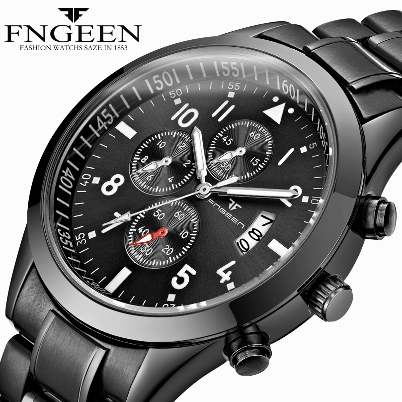 FNGEEN Watches Men Fashion Business Male Clock 2018 Men's Wristwatches Top Brand Luxury Quartz Watch Black Relogio Masculino fashion fngeen brand simple gridding texture dial automatic mechanical men business wrist watch calender display clock 6608g