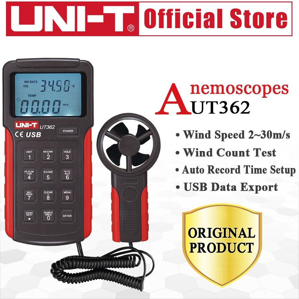 UNI-T UT362 Anémomètre Vitesse Du Vent Testeur Vent Compter Mesure Unité Commutateur LCD Rétro-Éclairage USB Transmission de Données Température