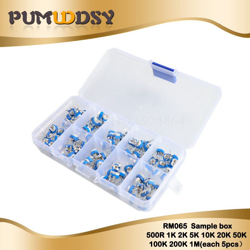 100PCS/LOT 10 Values *10PCS RM065 Vertical Adjustable Resistor Kit In Box <font><b>500</b></font> <font><b>ohm</b></font>-1M <font><b>ohm</b></font> Multiturn Trimmer <font><b>Potentiometer</b></font> Set image