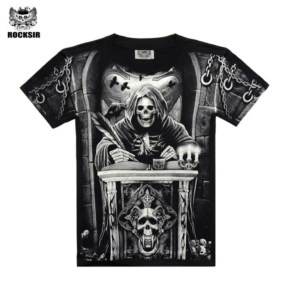 Rocksir envio 3d crânio t camisas Dos Homens 2017 VENDA QUENTE Da Moda Marca Mens Casual 3D Impresso T shirt Homens Roupas de Algodão tshirt mais tamanho