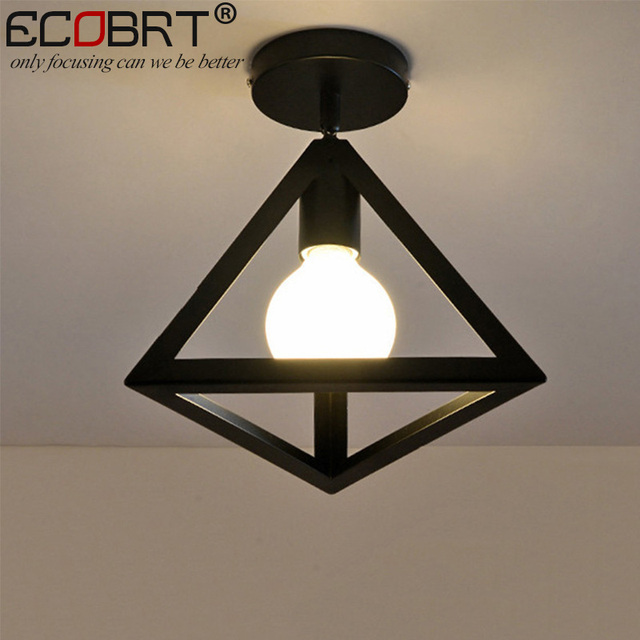 ECOBRT Nordic style black ceiling lights with E27 Socket fashionable iron restaurant balcony study ceiling lighting fixtures