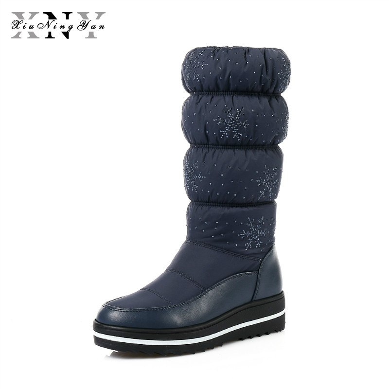 XiuNingYan Russia Snow Boots Thick Fur Inside Winter Keep Warm Women Boots Crystal Mid Calf High Boots Woman Plus Size 35-44