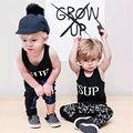 Детские Мальчиков Одежда Устанавливает Летний Новый 2 шт. Новорожденного Cool футболка Топы + Длинные Брюки Костюмы Установить 1 2 3 4 лет