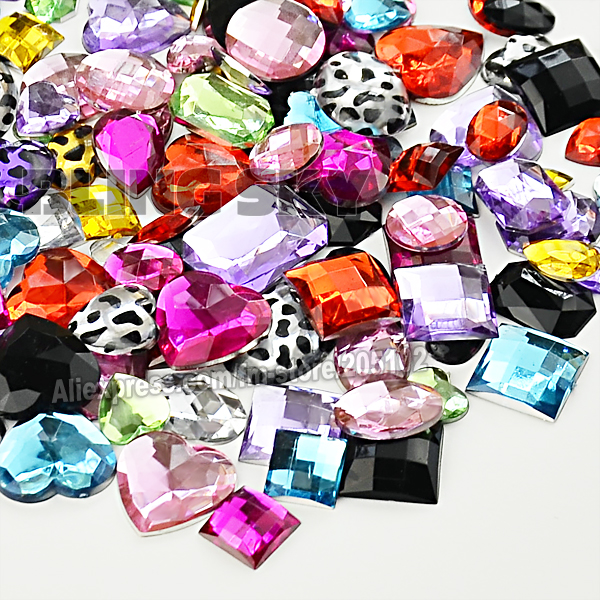 100 Pcs / Lot Campuran Warna ukuran Kristal Besar Resin Non HotFix Datar kembali Rhinestones untuk DIY Grament Wedding dress 3D ...