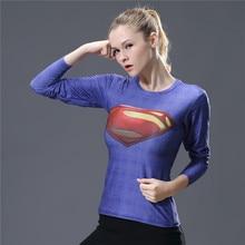 Women T-shirt Bodys Armour Marvel costume superman/batman T Shirt Long Sleeve Girl Fitness Tights Compression tshirts