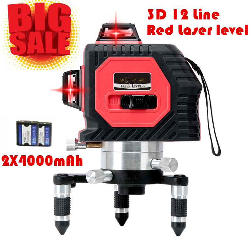 2017 New Professional  12Lines 3D Laser Level Self-Leveling 360 Horizontal And Vertical Cross Super Powerful Red Laser Beam Line fukuda mw 99t 12lines 3d laser level self leveling 360 horizontal and vertical cross super powerful red laser beam line