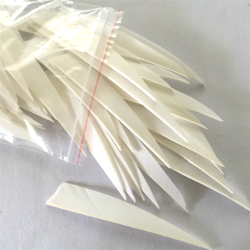 200pcs High Quality 4 inch White Shield Cut Shape Archery Hunting And Shooting Arrow Feather Fletches