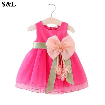 2037352b0cedb Bébé filles sans manches dentelle gâteau robe enfants enfant en bas âge princesse  robe pour bébé 1 an anniversaire enfants fille baptême robes k1