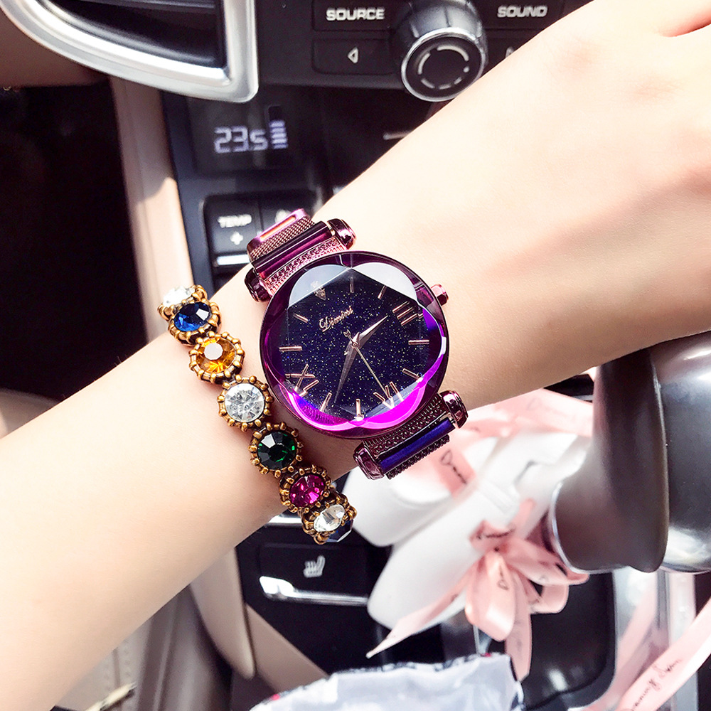 New Fashion Top Rosy Gold Mesh Magnet Starry Sky Quartz Watch Women Casual Watches Relogio Feminino Ladies Wrist Watch Hot Sale in Women 39 s Watches from Watches