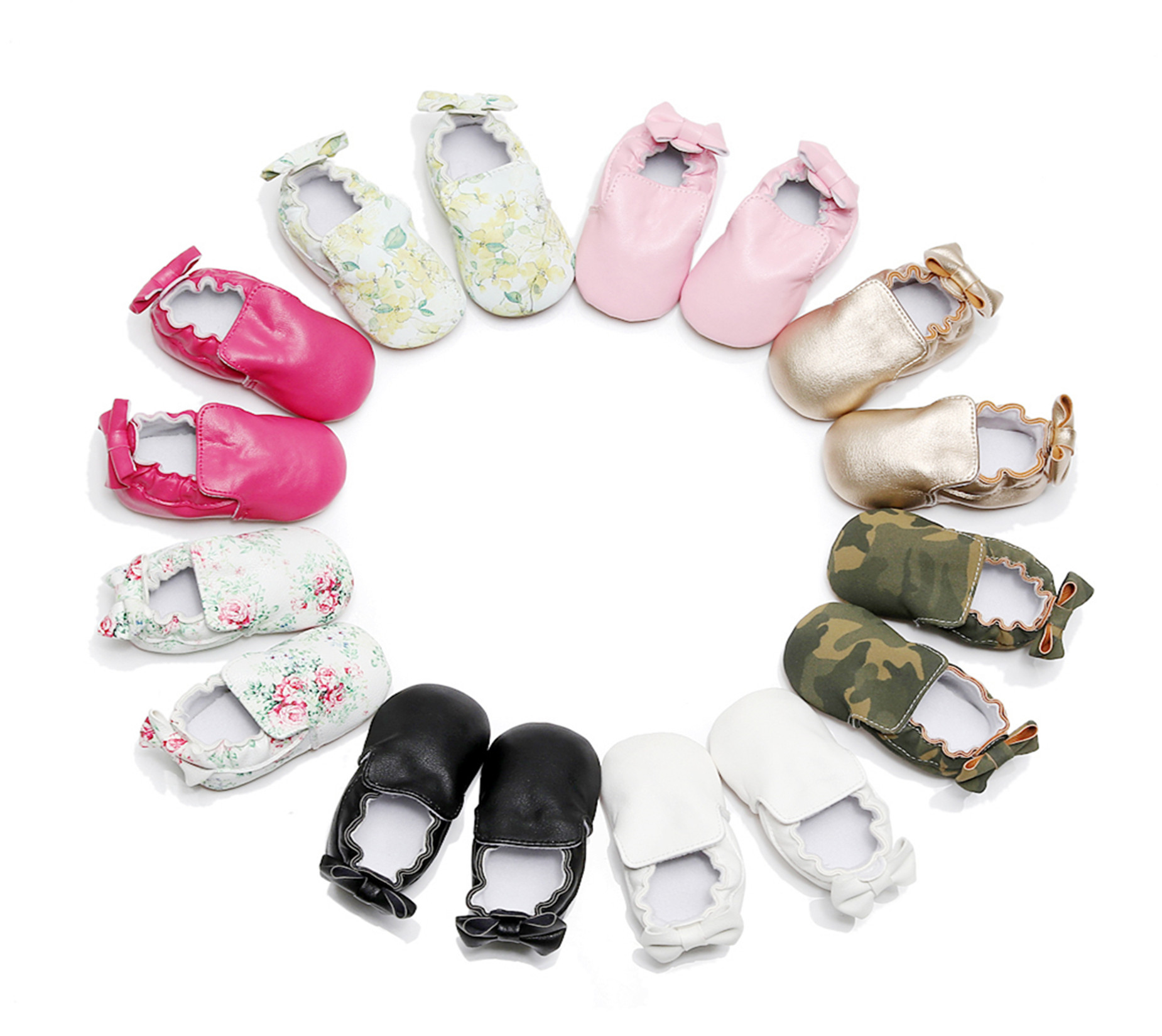 2018 Baby Shoes Colorful Butterfly Knot Infant Baby Toddler Shoes Europe and America Hot Baby Moccasins