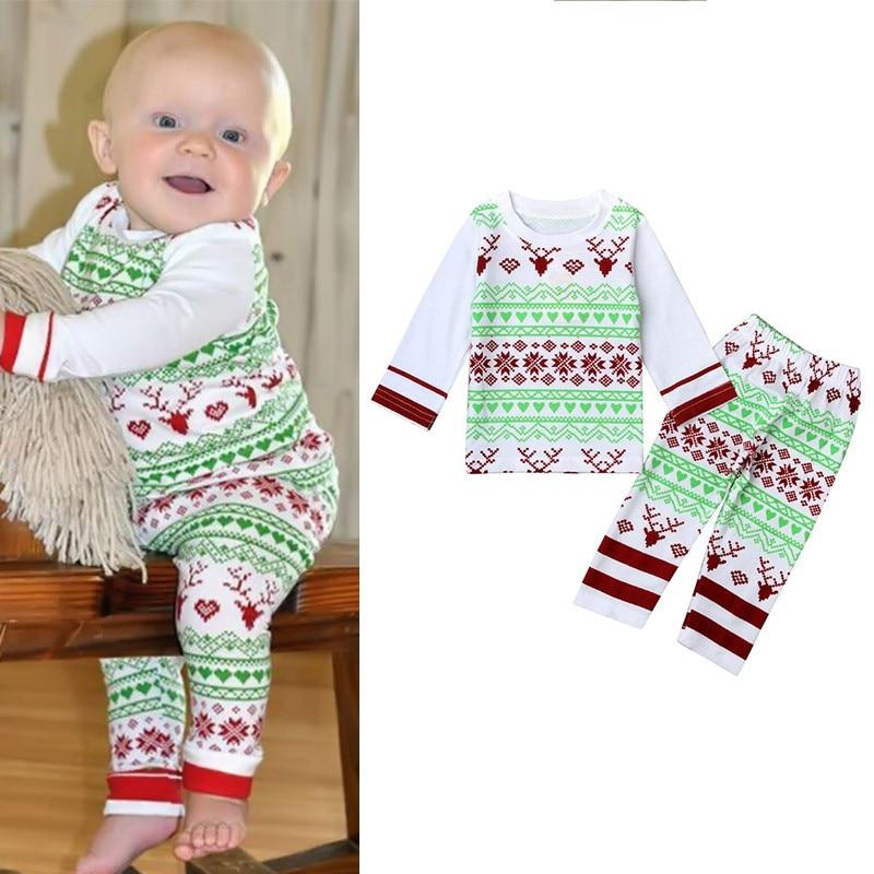 New Christmas Baby Kids Girls Boys Long Sleeve Nightwear Pajamas Set Sleepwear Suit