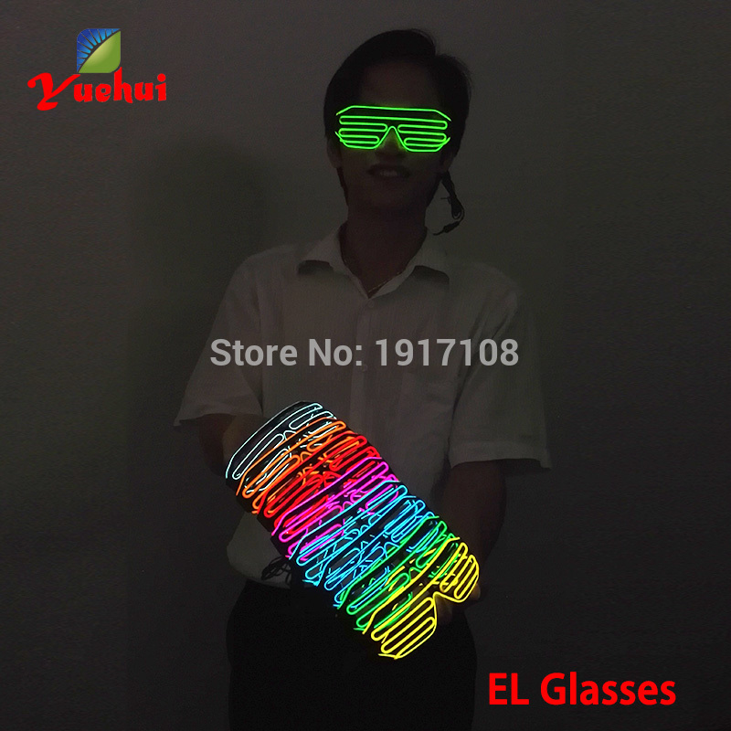 2017 Hot Sales LED Glasses Luminous Colorful Glowing EL Wire Glasses For Dance DJ Party Decoration Flashing/Steady On Inverter