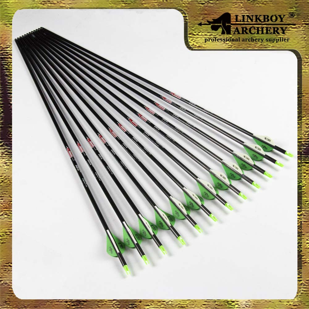 12pcs Spine 340 Archery Pure Carbon Arrows 2 Blazer Vane Replaceable Arrow for Compound Bow hunting shooting wholesale archery equipment hunting carbon arrow 31 400 spine for takedown bow targeting 50pcs