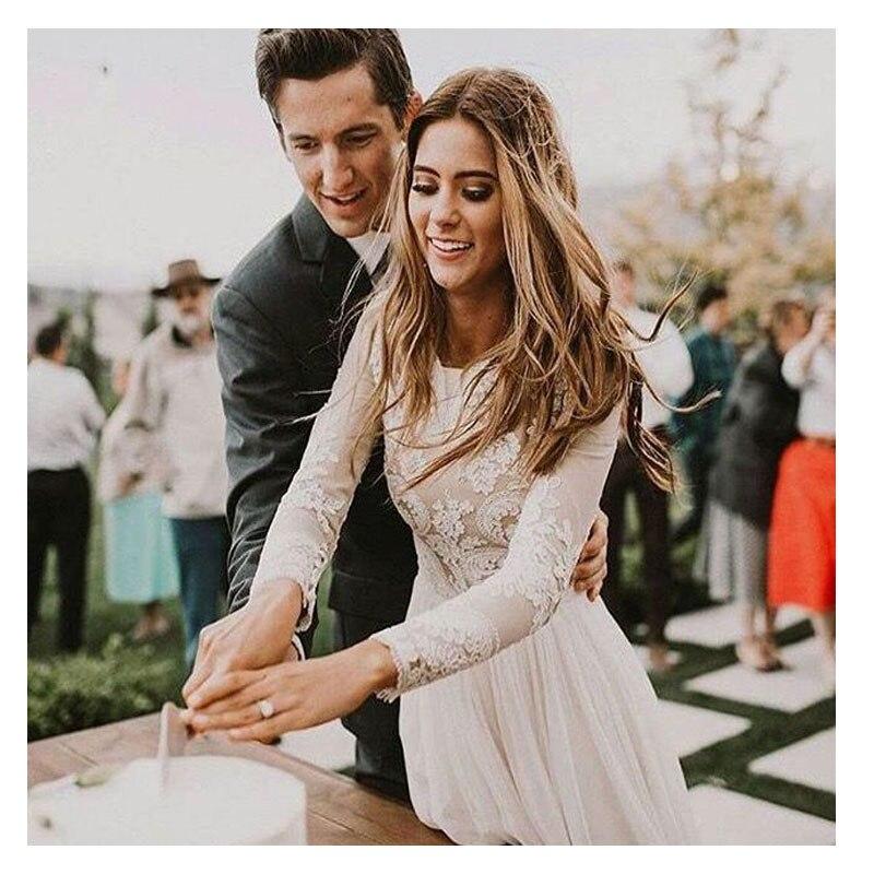 SOFUGE Boho Long Sleeve Wedding Dress 2019 Robe De Mariee Vintage Lace Top New Bridal Dress Puffy Chiffon Wedding Dresses