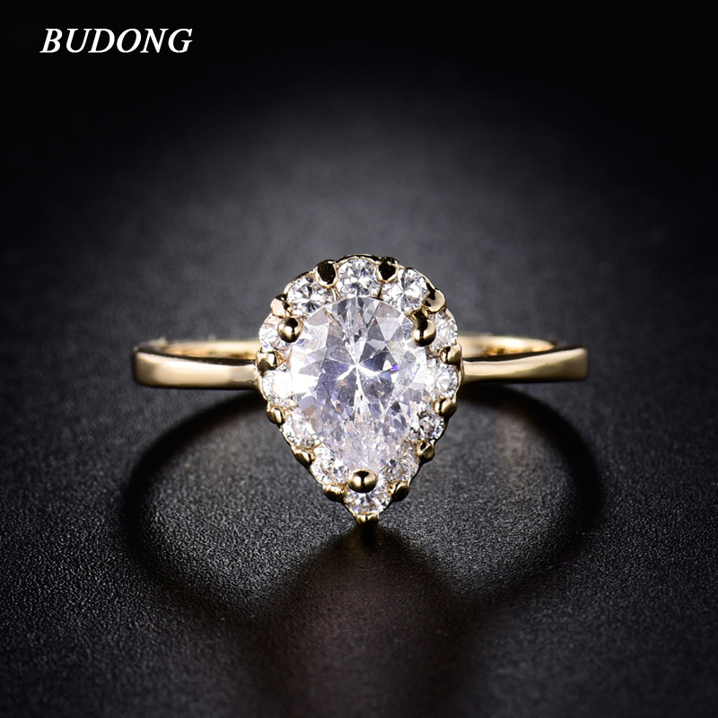 budong fashion large teardrop crystal engagement ring for women 2017 gold color rings austrian cubic - Teardrop Wedding Rings