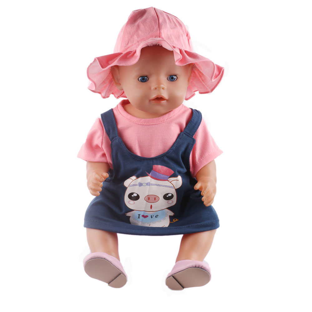 43cm Baby Born Zapf Doll Clothes Pink Rompers Suit hat