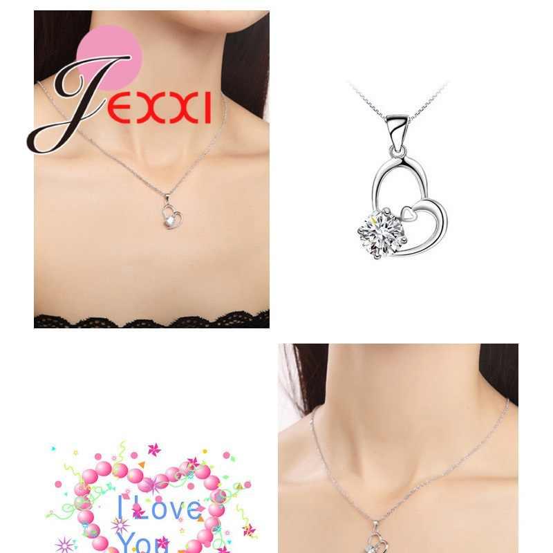 Süße Valentines Tag 925 Sterling Silber Sets Für Hochzeit Engagement Schmuck Frauen Kristall Anhänger Halskette Ohrringe Set