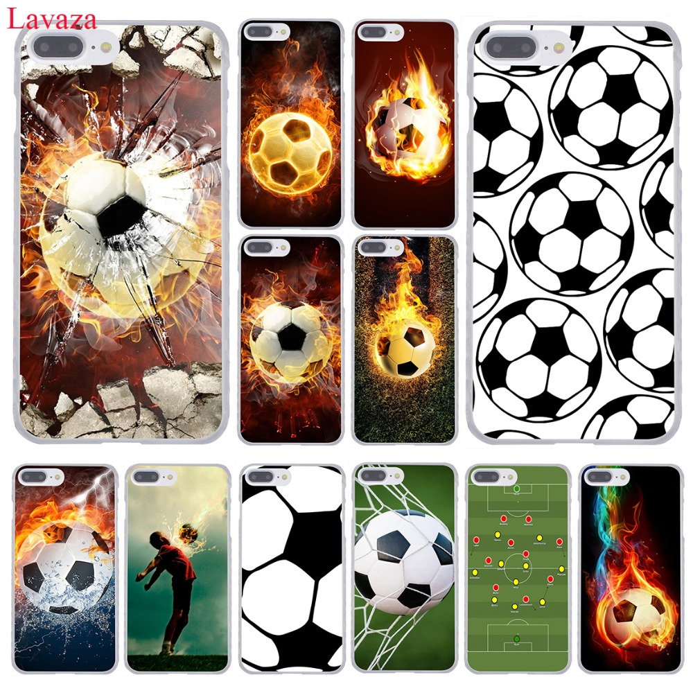 Lavaza Fire Football Soccer Ball Hard Coque Shell Phone Case for Apple iPhone 8 7 6 6S Plus X 10 5 5S SE 5C 4 4S Cover