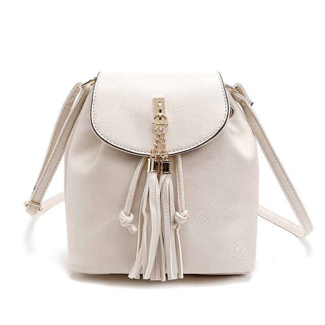 Moda bolsa de Ombro Mulheres Mensageiro Bolsas Femininas Bolsos Sólidos Couro PU de Alta Qualidade Macio Pequeno Crossbody Balde Borla Saco