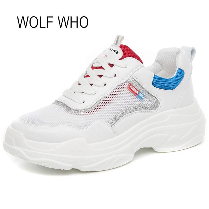 Épaisse En Occasionnels Cuir Haut forme Loup Femelle Femmes 498 Sneakers Maille jaune Plate H Talon Bleu Qui Des Semelle Blanc 2018 APPnxpq8t