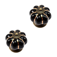 New 12Pcs Pumpkin Zinc Ceramic Door Knobs Drawer Pull Handle Kitchen Cabinet Cupboard Wardrobe Black