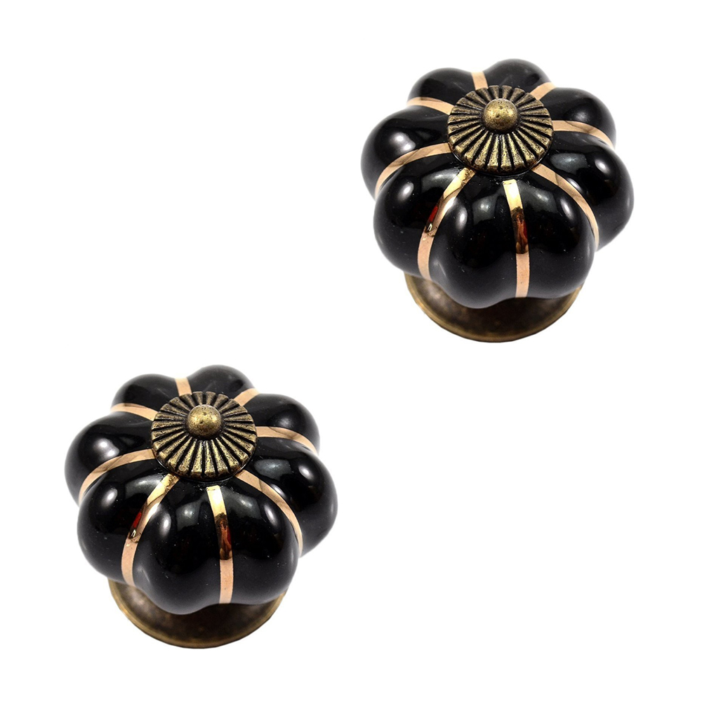 New 12Pcs Pumpkin Zinc Ceramic Door Knobs Drawer Pull Handle Kitchen Cabinet Cupboard Wardrobe push to open beetles drawer cabinet latch catch touch release kitchen cupboard new arrival high quality