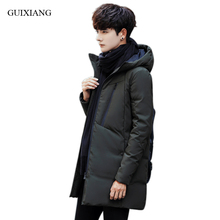 New arrival style men boutique parkas business casual solid thick hooded men's slim cotton clothes jacket overcoat size M-3XL