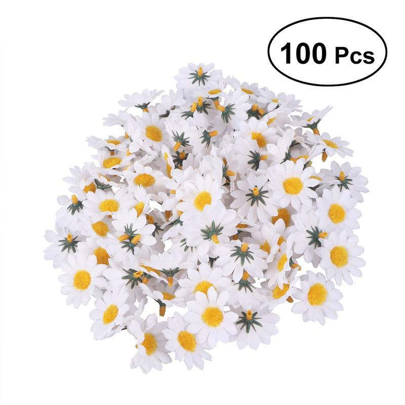 100pcs Artificial <font><b>Gerbera</b></font> <font><b>Daisy</b></font> Flowers Heads for DIY Wedding Party Decoration Artificial Flowers Craft Decorative Simulation image