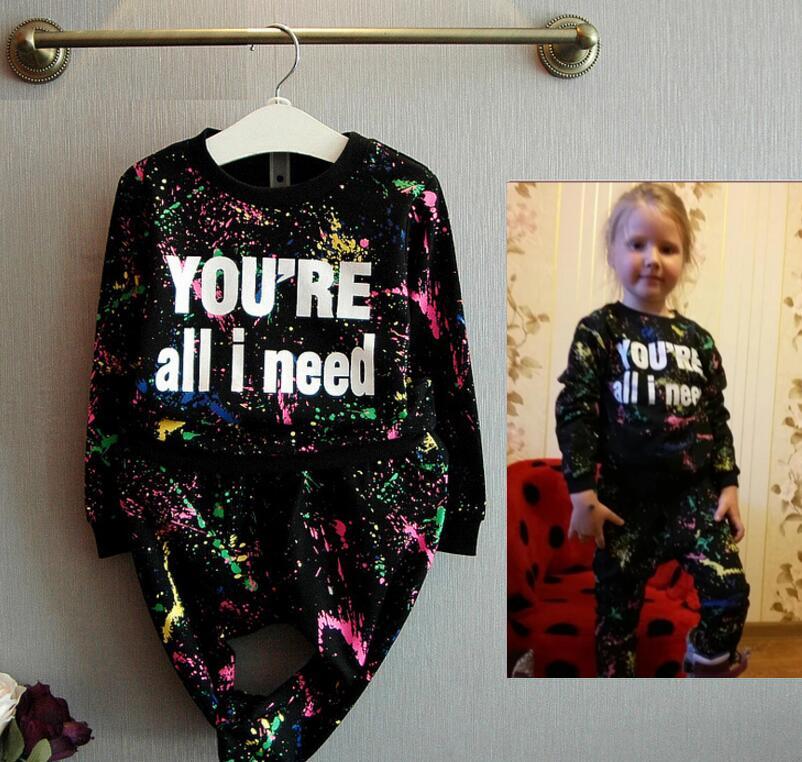 63407c31d754f7 Bambini Ragazze Dei Ragazzi Spring Tute Abbigliamento Sportivo Outfits Per  Bambini Vestiti Top + Hip Hop Harem Pants Moda Piccolo Cotoni Costume in  Bambini ...