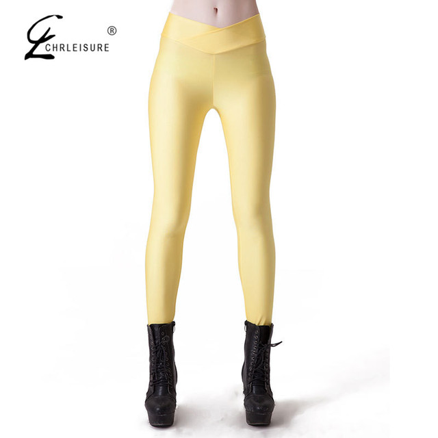 CHRLEISURE S-XL 9 Color  Women's Workout Leggings Candy Colors High Fluorescence V-Waist Stretch Spandex Leggings Women