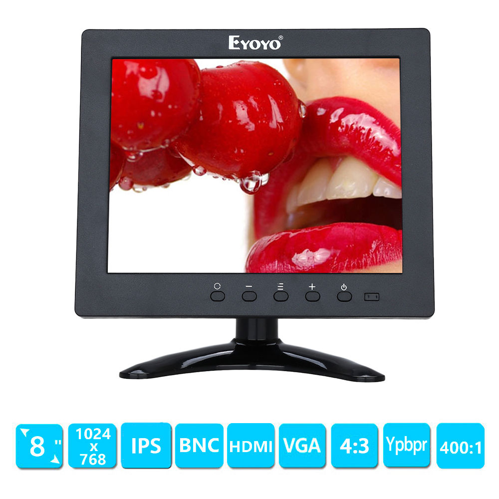 EYOYO 8 inch IPS LCD Color 1024*768 Monitor HDMI BNC AV  Ypbpr Type-C Input for CCTV DVD PC VCD FPV Outdoor aputure digital 7inch lcd field video monitor v screen vs 1 finehd field monitor accepts hdmi av for dslr