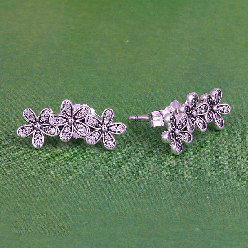 aee6316a1 ... New 925 Sterling Silver Earring Dazzling Daisy Clusters With Crystal Studs  Earring For Women Wedding Gift ...