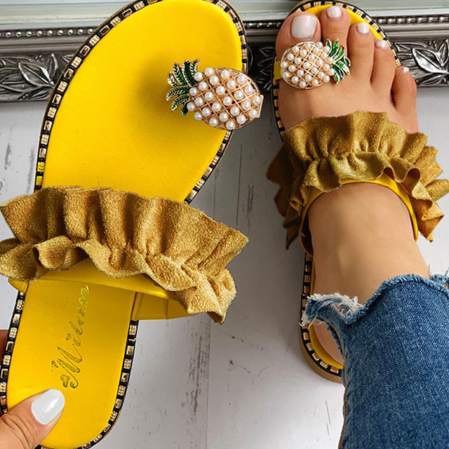 Slippers Women Shoes Summer sandals Beach Pineapple Flat Slippers Outside Slides Zapatos De Mujer Ladies Shoes String Bead 2019