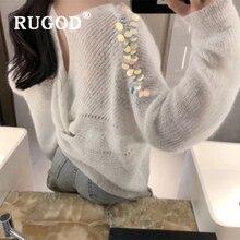 RUGOD Korean sweet Sequin knitted women sweater Elegant round neck cross pullower female Auturm white oversized coats