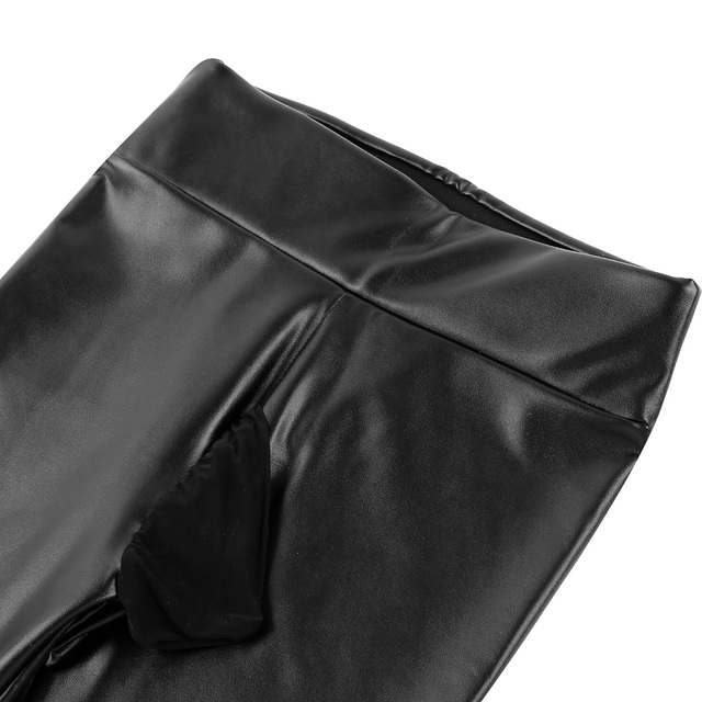 Mens Clothing Sexy Pants Male Wetlook Jockstraps PU Leather Thin Velvet Lining Bulge Pouch Pants Leggings Muscle Tights Pants 5