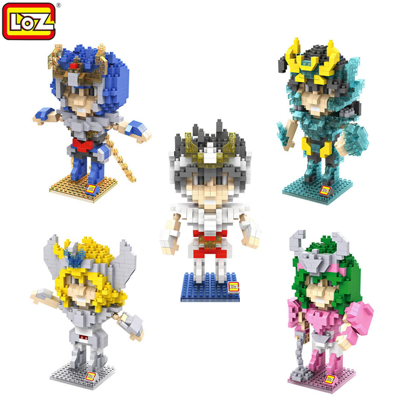 LOZ Cartoon Saint Seiya Myth Cloth DIY Action Figure Model Shiryu Hyoga Shun Ikki Blocks Toys New Year Gift