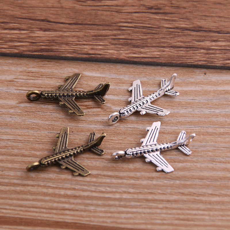 PULCHRITUDE 30PCS 15*22mm Airplane Plane Two Color Plated Pendants Antique Jewelry Making DIY Handmade Craft image