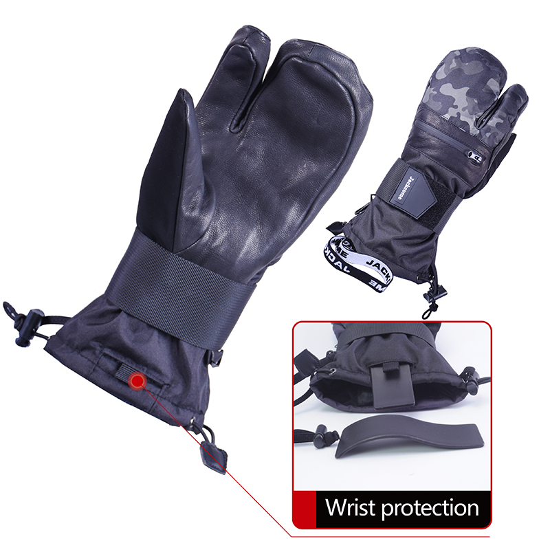 Jackcome Waterproof Windproof Leather Winter Keep Warm Skiing Snowboard Gloves  Protect Gear With Wrist Protective