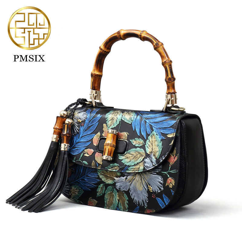 Pmsix 2017 Chinese Style women bag fashion first layer of leather cowskin retro embossed shoulderbag handbag  P110035 polo women golf club clothing bag handbag nylon first layer of leather