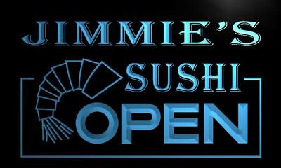 x0260-tm Jimmies Sushi Open Custom Personalized Name Neon Sign Wholesale Dropshipping On/Off Switch 7 Colors DHL