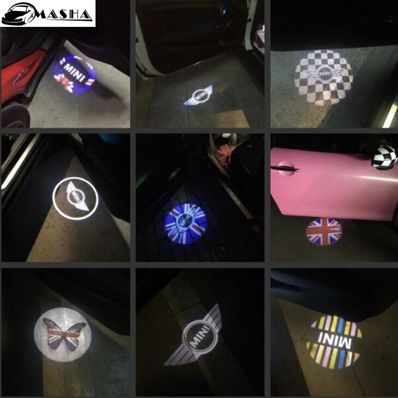 2pcs LED Welcome Projector Logo Ghost Shadow lamp Car Door light logo Mini clubman R53 mini cooper R55 R56 R57 R58 R59 R60 R50